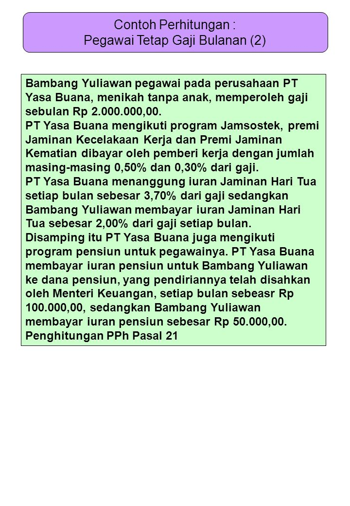 Bambang Yuliawan pegawai pada perusahaan PT Yasa Buana, menikah tanpa anak, memperoleh gaji sebulan Rp 2.000.000,00. PT Yasa Buana mengikuti program J