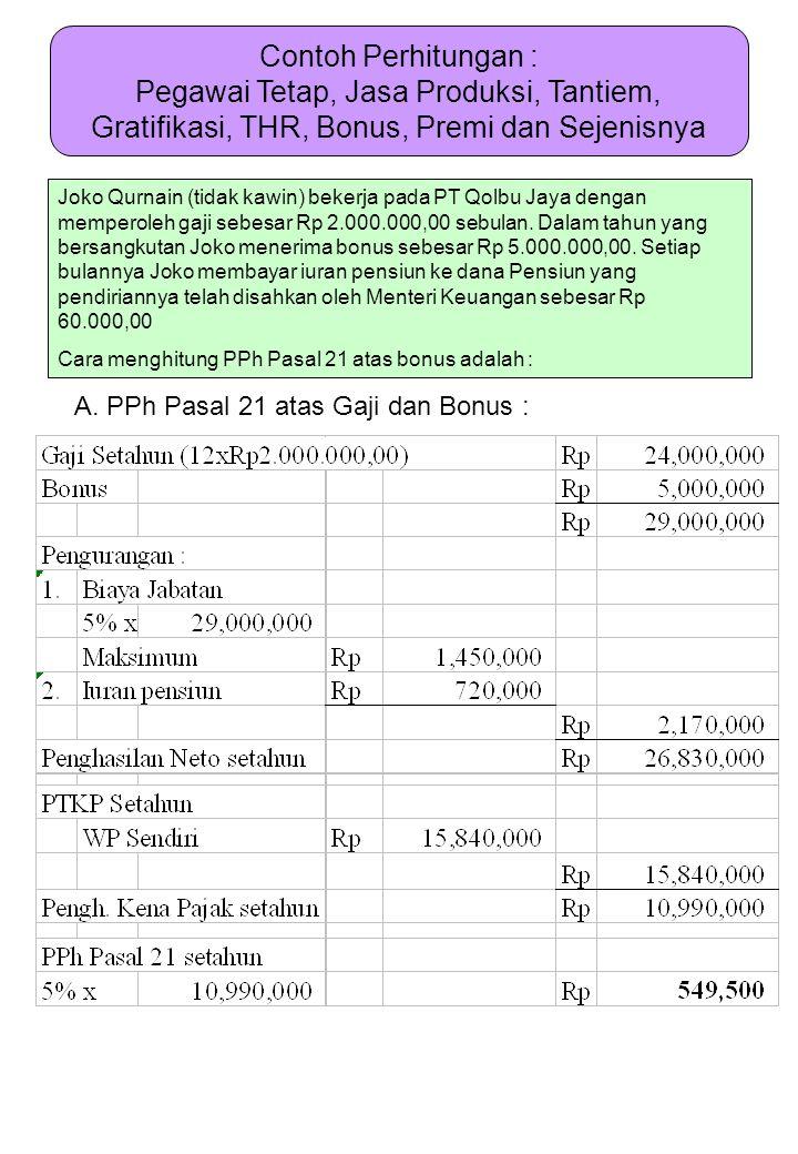 Contoh Perhitungan : Pegawai Tetap, Jasa Produksi, Tantiem, Gratifikasi, THR, Bonus, Premi dan Sejenisnya Joko Qurnain (tidak kawin) bekerja pada PT Q