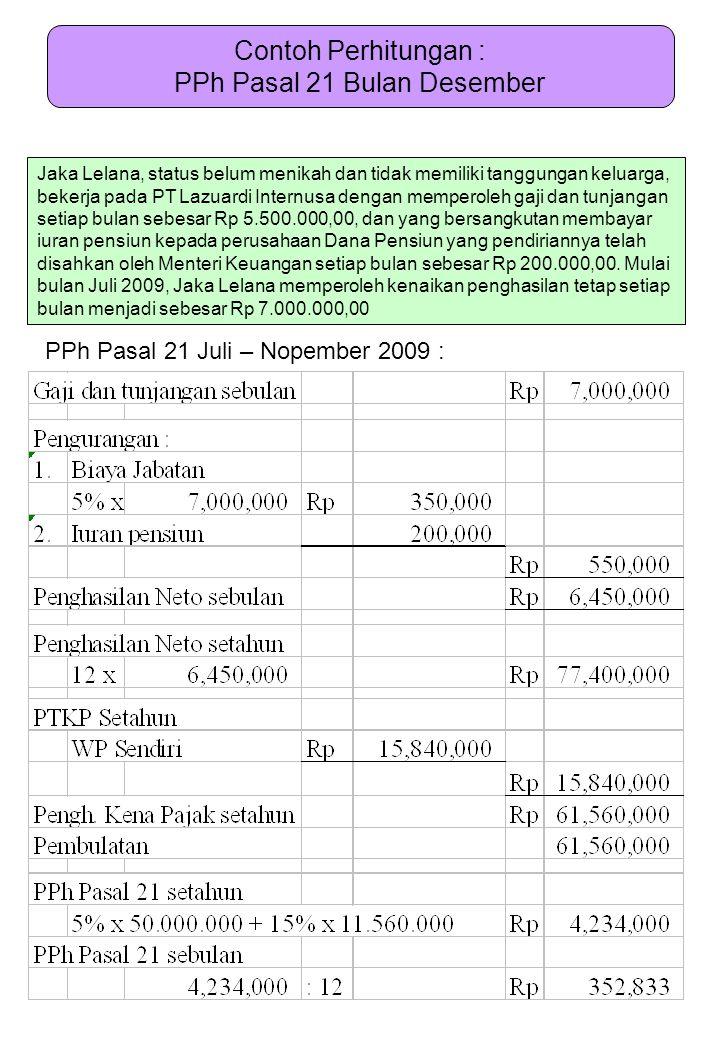 Contoh Perhitungan : PPh Pasal 21 Bulan Desember Jaka Lelana, status belum menikah dan tidak memiliki tanggungan keluarga, bekerja pada PT Lazuardi In