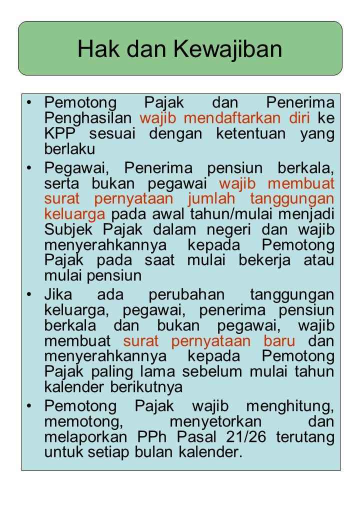 Hak dan Kewajiban Pemotong Pajak dan Penerima Penghasilan wajib mendaftarkan diri ke KPP sesuai dengan ketentuan yang berlaku Pegawai, Penerima pensiu