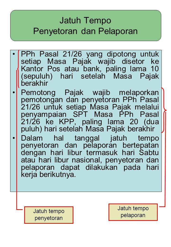 Jatuh Tempo Penyetoran dan Pelaporan PPh Pasal 21/26 yang dipotong untuk setiap Masa Pajak wajib disetor ke Kantor Pos atau bank, paling lama 10 (sepu