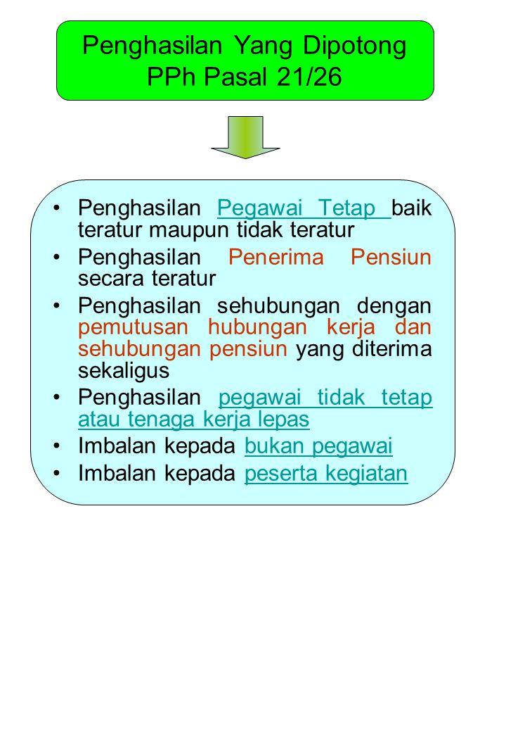 Penghasilan Yang Dipotong PPh Pasal 21/26 Penghasilan Pegawai Tetap baik teratur maupun tidak teraturPegawai Tetap Penghasilan Penerima Pensiun secara