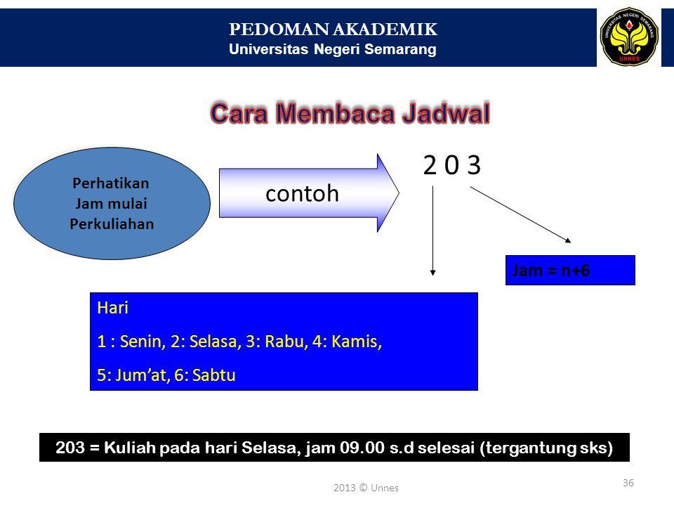 PEDOMAN AKADEMIK Universitas Negeri Semarang 36 2013 © Unnes Perhatikan Jam mulai Perkuliahan contoh 2 0 3 Jam = n+6 Hari 1 : Senin, 2: Selasa, 3: Rab