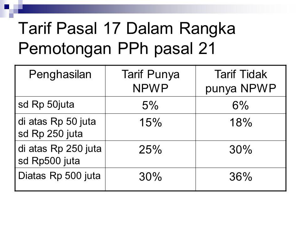 Tarif Pasal 17 Dalam Rangka Pemotongan PPh pasal 21 PenghasilanTarif Punya NPWP Tarif Tidak punya NPWP sd Rp 50juta 5%6% di atas Rp 50 juta sd Rp 250