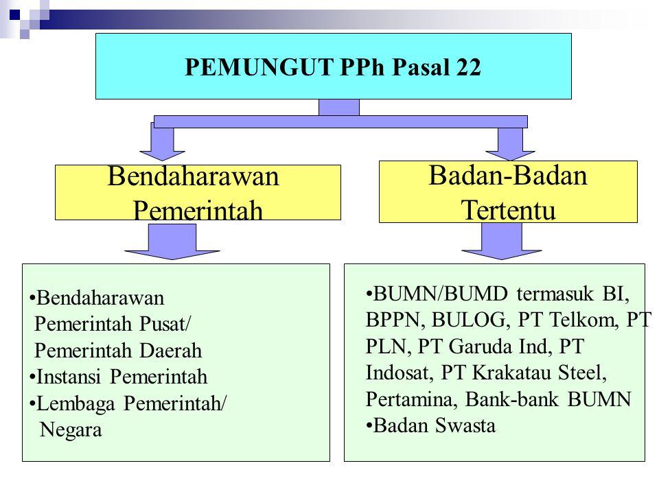 PEMUNGUT PPh Pasal 22 Bendaharawan Pemerintah Pusat/ Pemerintah Daerah Instansi Pemerintah Lembaga Pemerintah/ Negara Bendaharawan Pemerintah Badan-Ba