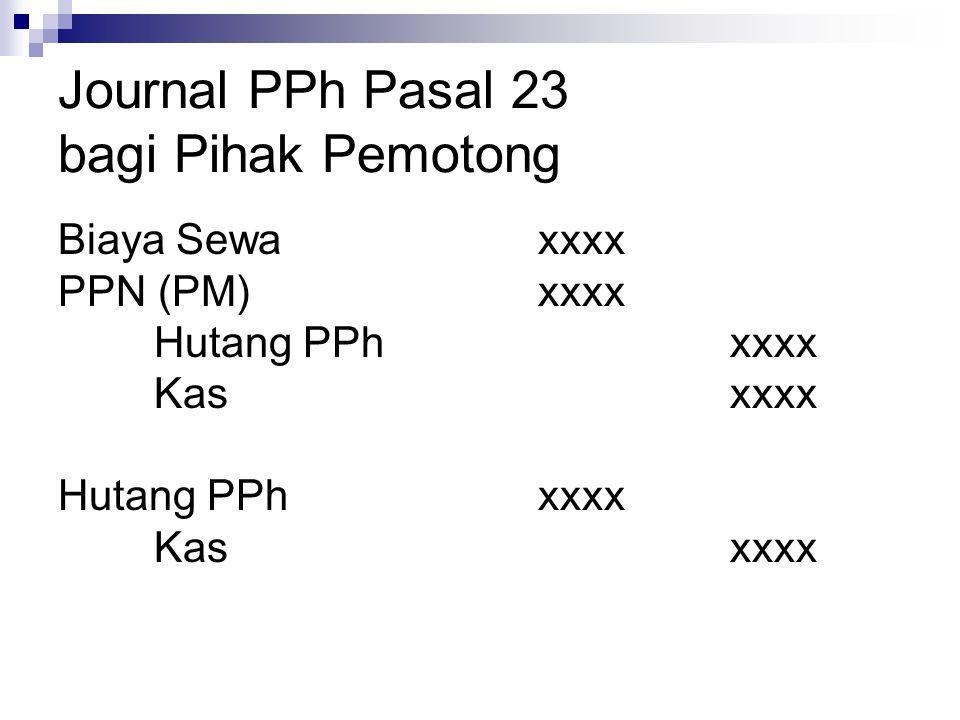 Journal PPh Pasal 23 bagi Pihak Pemotong Biaya Sewaxxxx PPN (PM)xxxx Hutang PPhxxxx Kasxxxx Hutang PPhxxxx Kasxxxx