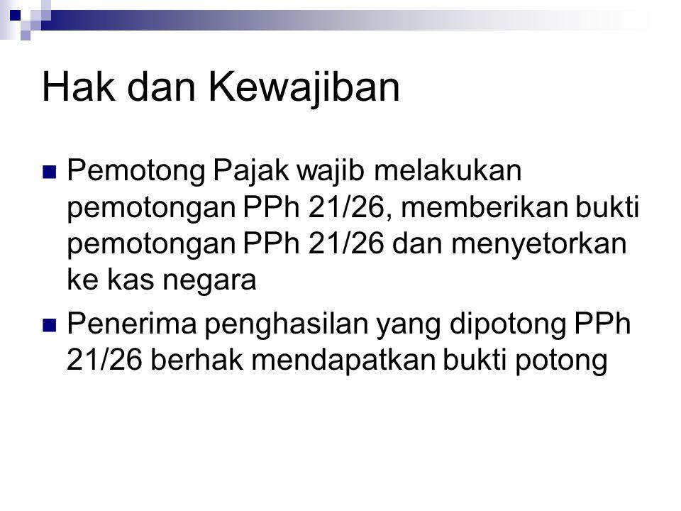 Hak dan Kewajiban Pemotong Pajak wajib melakukan pemotongan PPh 21/26, memberikan bukti pemotongan PPh 21/26 dan menyetorkan ke kas negara Penerima pe