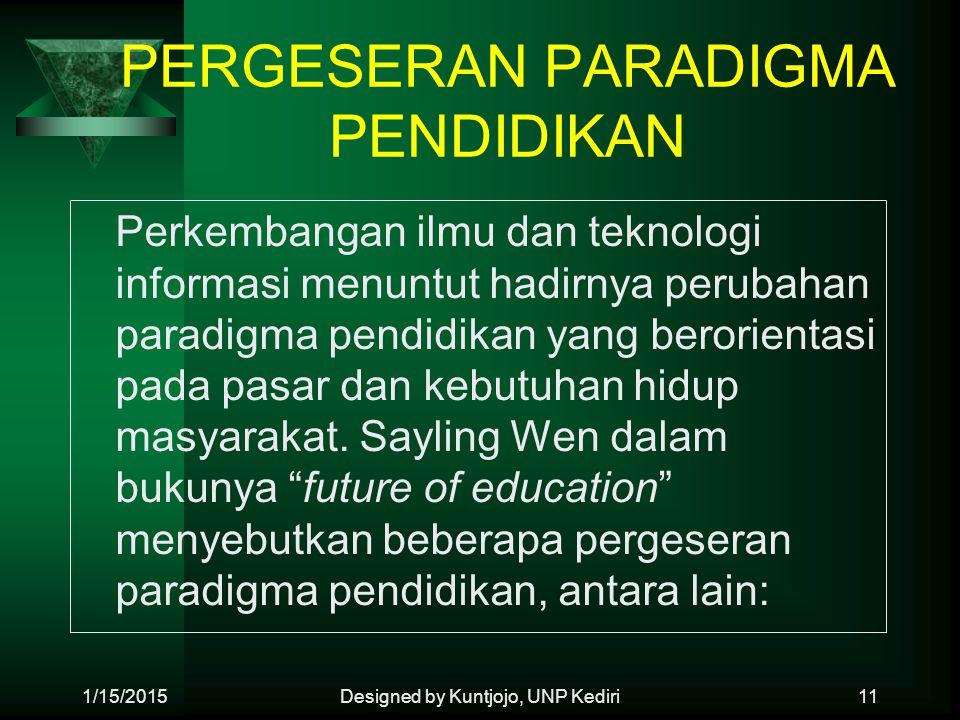 PERGESERAN PARADIGMA PENDIDIKAN Perkembangan ilmu dan teknologi informasi menuntut hadirnya perubahan paradigma pendidikan yang berorientasi pada pasa