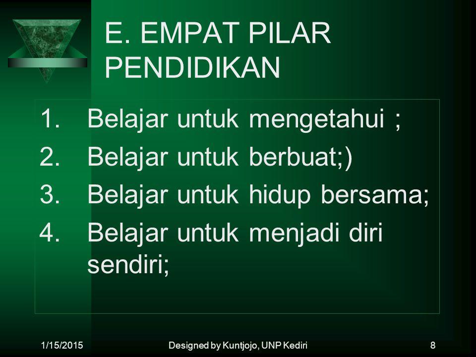 E. EMPAT PILAR PENDIDIKAN 1. Belajar untuk mengetahui ; 2.Belajar untuk berbuat;) 3.Belajar untuk hidup bersama; 4.Belajar untuk menjadi diri sendiri;
