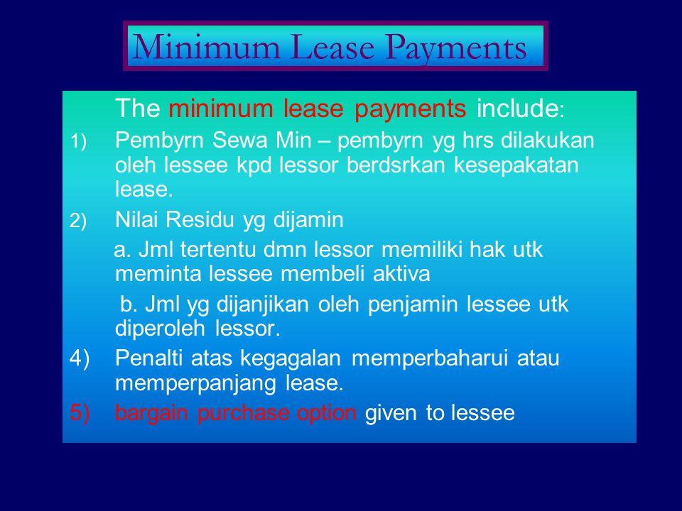 The minimum lease payments include : 1) Pembyrn Sewa Min – pembyrn yg hrs dilakukan oleh lessee kpd lessor berdsrkan kesepakatan lease. 2) Nilai Resid