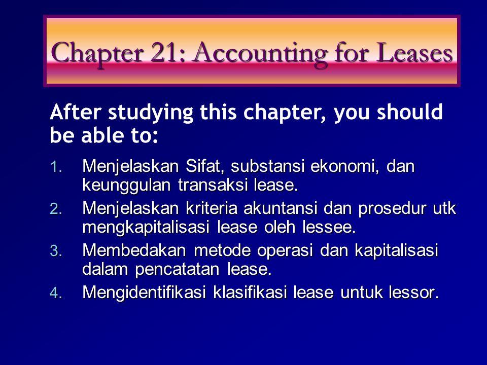 1. Menjelaskan Sifat, substansi ekonomi, dan keunggulan transaksi lease. 2. Menjelaskan kriteria akuntansi dan prosedur utk mengkapitalisasi lease ole