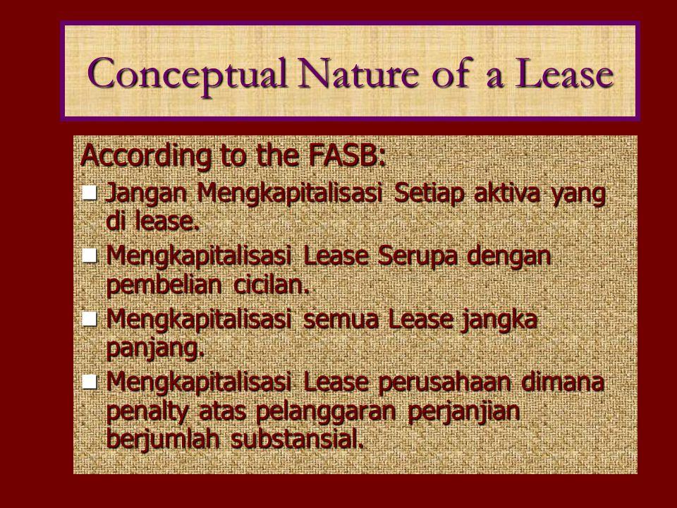 According to the FASB: Jangan Mengkapitalisasi Setiap aktiva yang di lease. Jangan Mengkapitalisasi Setiap aktiva yang di lease. Mengkapitalisasi Leas
