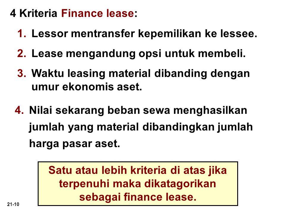 21-10 4 Kriteria Finance lease: 1. 1.Lessor mentransfer kepemilikan ke lessee. 2. 2.Lease mengandung opsi untuk membeli. 3. 3.Waktu leasing material d