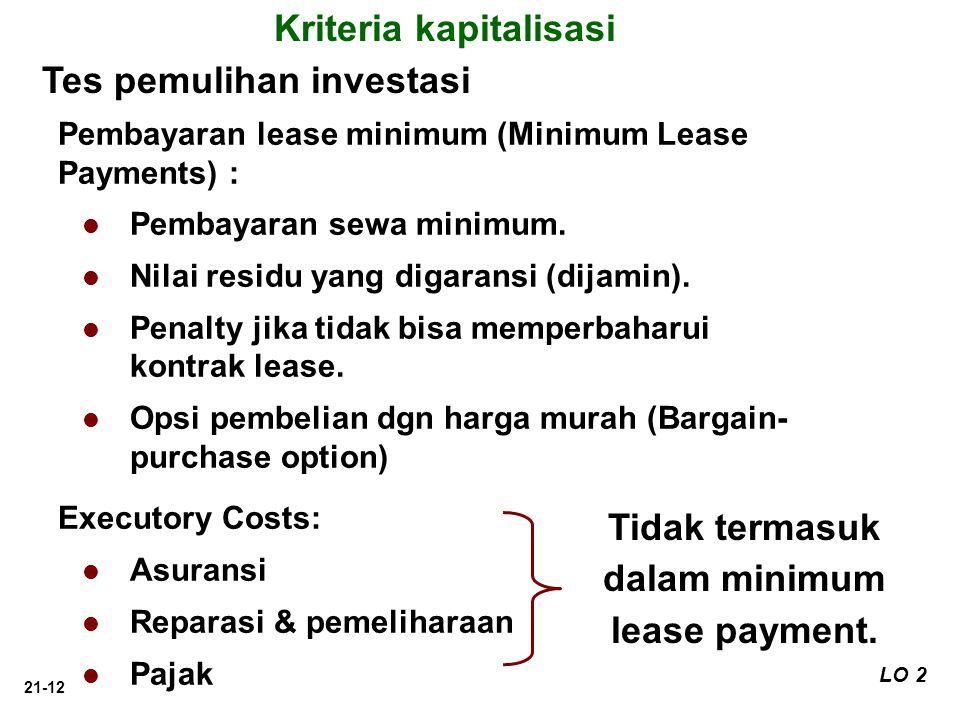 21-12 Tes pemulihan investasi LO 2 Pembayaran lease minimum (Minimum Lease Payments) : Pembayaran sewa minimum. Nilai residu yang digaransi (dijamin).