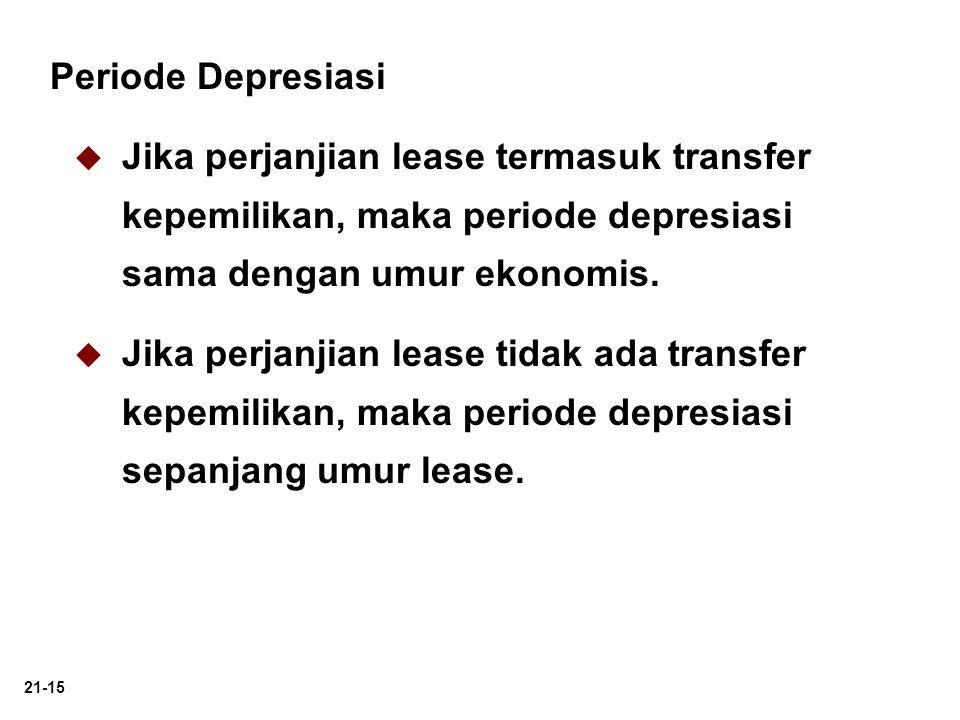 21-15 Periode Depresiasi   Jika perjanjian lease termasuk transfer kepemilikan, maka periode depresiasi sama dengan umur ekonomis.   Jika perjanji