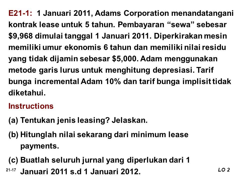 "21-17 E21-1: 1 Januari 2011, Adams Corporation menandatangani kontrak lease untuk 5 tahun. Pembayaran ""sewa"" sebesar $9,968 dimulai tanggal 1 Januari"