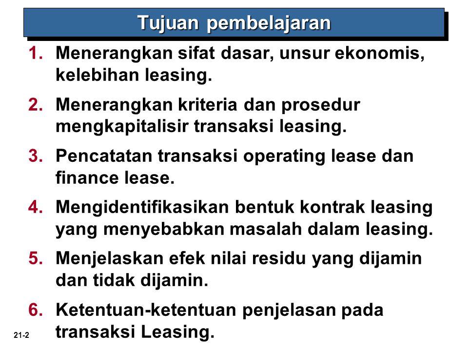 21-2 1. 1.Menerangkan sifat dasar, unsur ekonomis, kelebihan leasing. 2. 2.Menerangkan kriteria dan prosedur mengkapitalisir transaksi leasing. 3. 3.P
