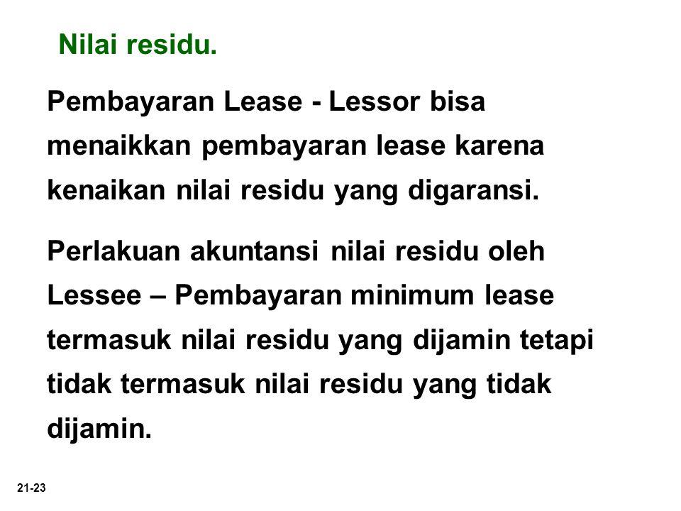 21-23 Pembayaran Lease - Lessor bisa menaikkan pembayaran lease karena kenaikan nilai residu yang digaransi. Perlakuan akuntansi nilai residu oleh Les