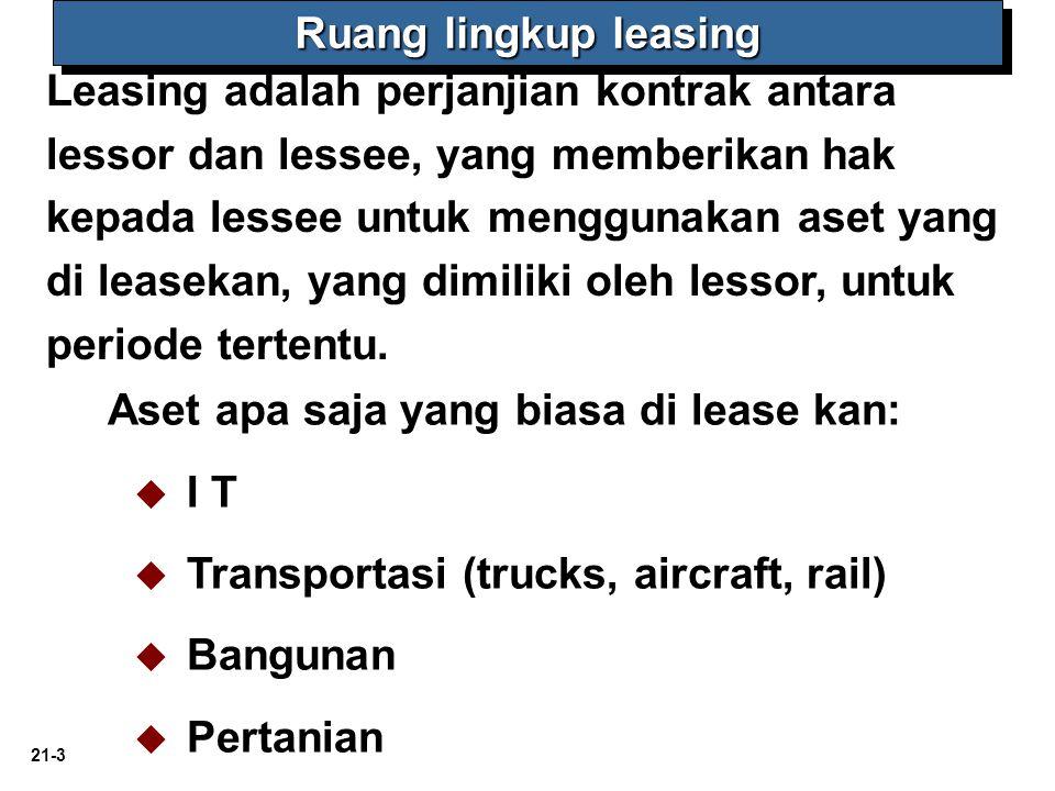 21-3 Aset apa saja yang biasa di lease kan:   I T   Transportasi (trucks, aircraft, rail)   Bangunan   Pertanian Leasing adalah perjanjian kon