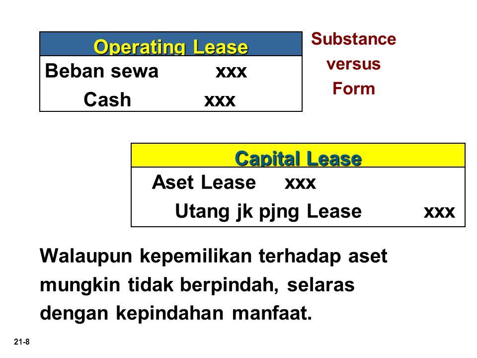 21-8 Operating Lease Capital Lease Beban sewa xxx Cash xxx Aset Lease xxx Utang jk pjng Lease xxx Walaupun kepemilikan terhadap aset mungkin tidak ber