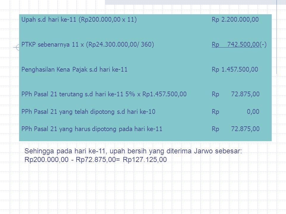 Upah s.d hari ke-11 (Rp200.000,00 x 11)Rp 2.200.000,00 PTKP sebenarnya 11 x (Rp24.300.000,00/ 360)Rp 742.500,00(-) Penghasilan Kena Pajak s.d hari ke-