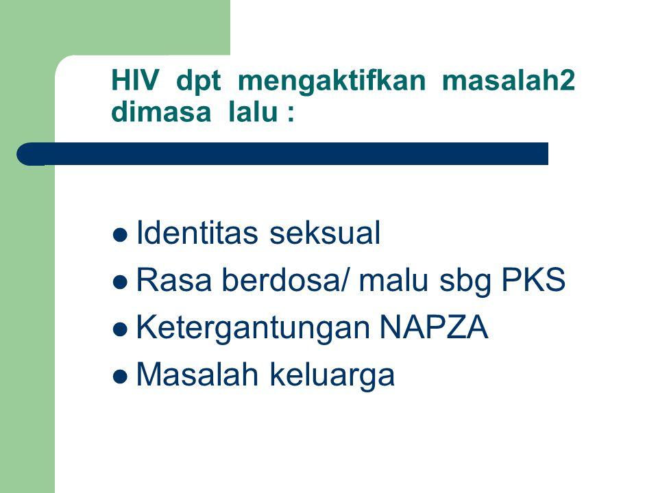 HIV dpt mengaktifkan masalah2 dimasa lalu : Identitas seksual Rasa berdosa/ malu sbg PKS Ketergantungan NAPZA Masalah keluarga