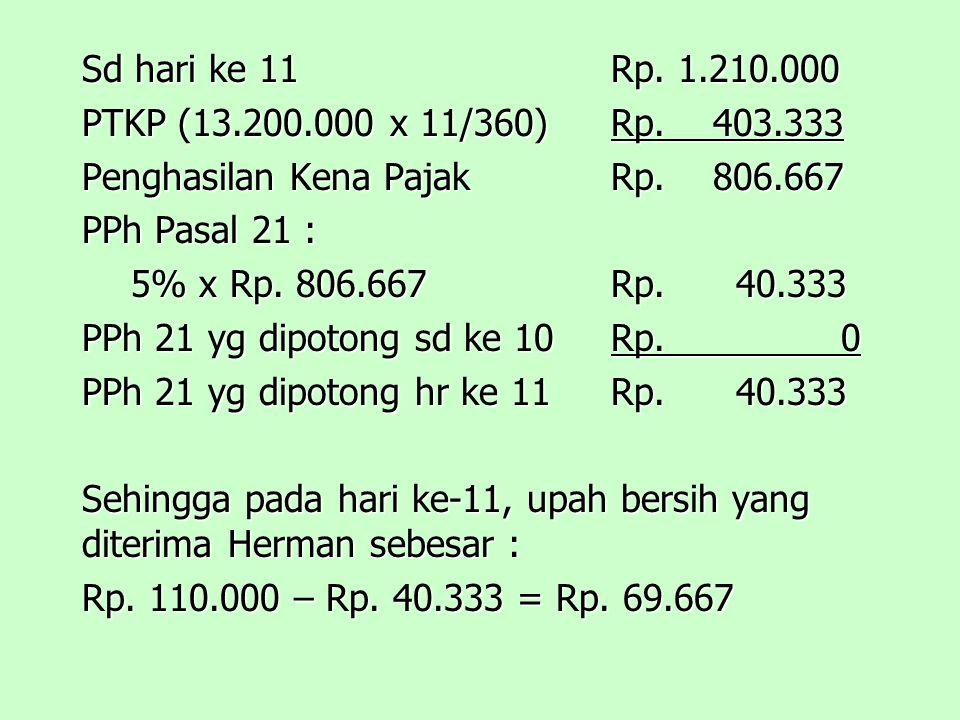 Sd hari ke 11Rp.1.210.000 PTKP (13.200.000 x 11/360)Rp.