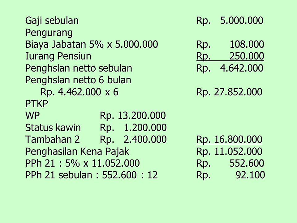 Gaji sebulanRp.5.000.000 Pengurang Biaya Jabatan 5% x 5.000.000Rp.