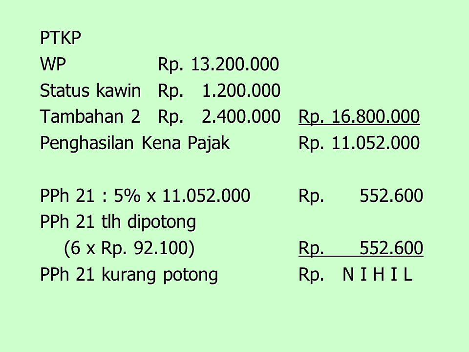 PTKP WPRp.13.200.000 Status kawinRp. 1.200.000 Tambahan 2Rp.