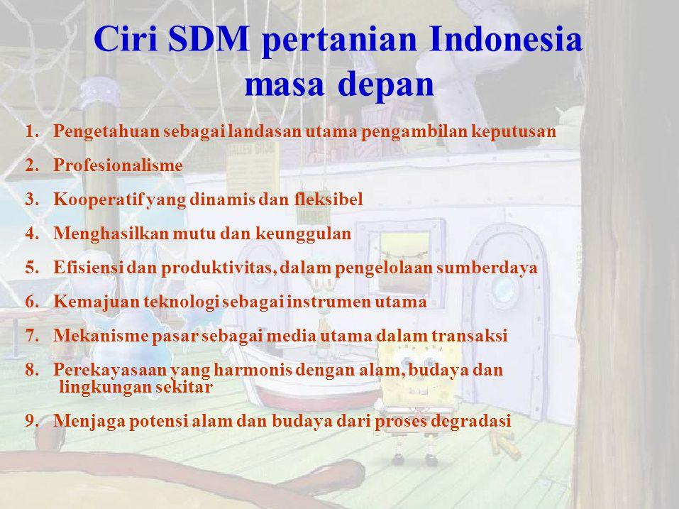 Ciri SDM pertanian Indonesia masa depan 1. Pengetahuan sebagai landasan utama pengambilan keputusan 2. Profesionalisme 3. Kooperatif yang dinamis dan