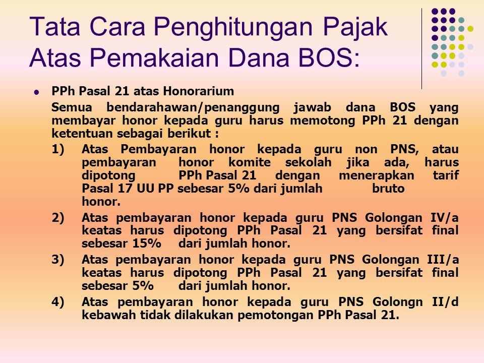 PPh Pasal 21 atas Honorarium Semua bendarahawan/penanggung jawab dana BOS yang membayar honor kepada guru harus memotong PPh 21 dengan ketentuan sebag