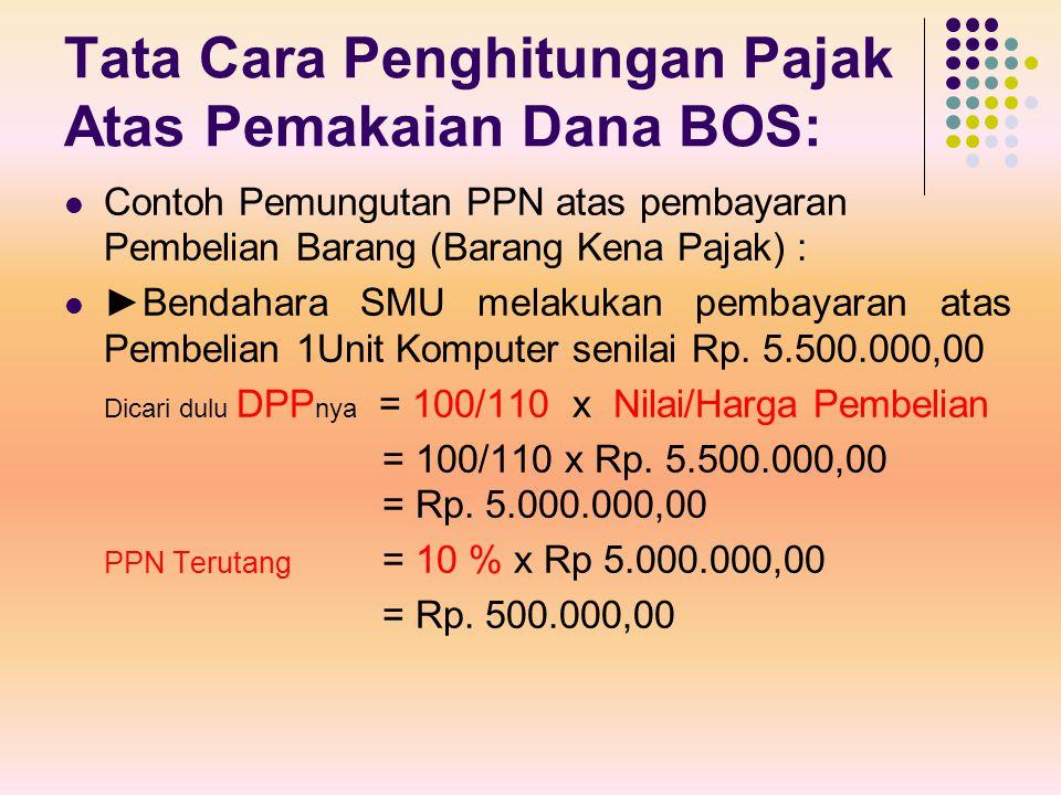 Tata Cara Penghitungan Pajak Atas Pemakaian Dana BOS: Contoh Pemungutan PPN atas pembayaran Pembelian Barang (Barang Kena Pajak) : ►Bendahara SMU mela