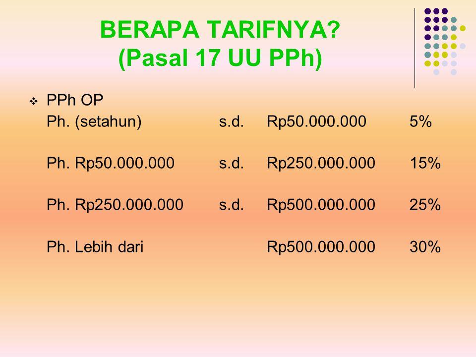 BERAPA TARIFNYA? (Pasal 17 UU PPh)  PPh OP Ph. (setahun)s.d. Rp50.000.0005% Ph. Rp50.000.000 s.d. Rp250.000.00015% Ph. Rp250.000.000s.d. Rp500.000.00