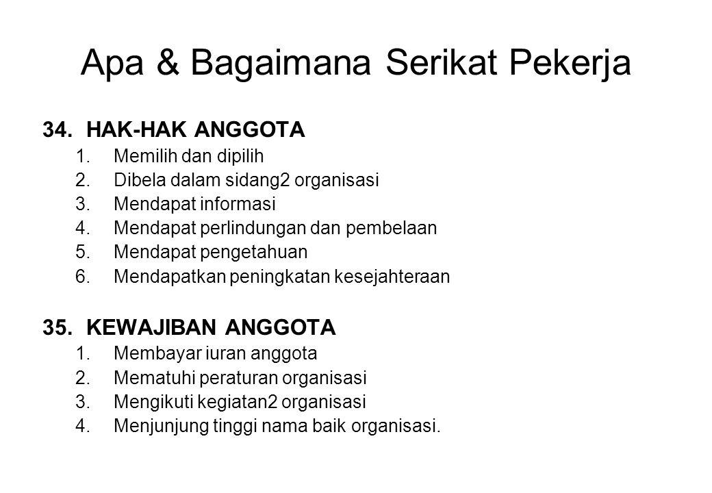 Apa & Bagaimana Serikat Pekerja 34.HAK-HAK ANGGOTA 1.Memilih dan dipilih 2.Dibela dalam sidang2 organisasi 3.Mendapat informasi 4.Mendapat perlindunga