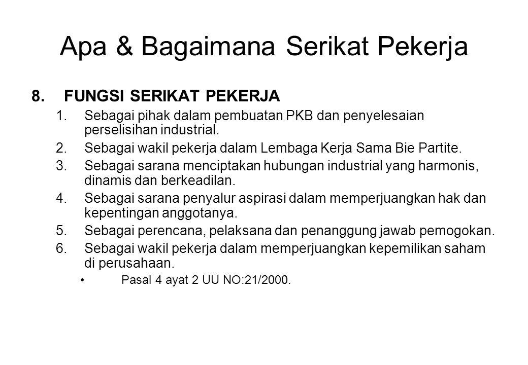 Apa & Bagaimana Serikat Pekerja 8.FUNGSI SERIKAT PEKERJA 1.Sebagai pihak dalam pembuatan PKB dan penyelesaian perselisihan industrial. 2.Sebagai wakil
