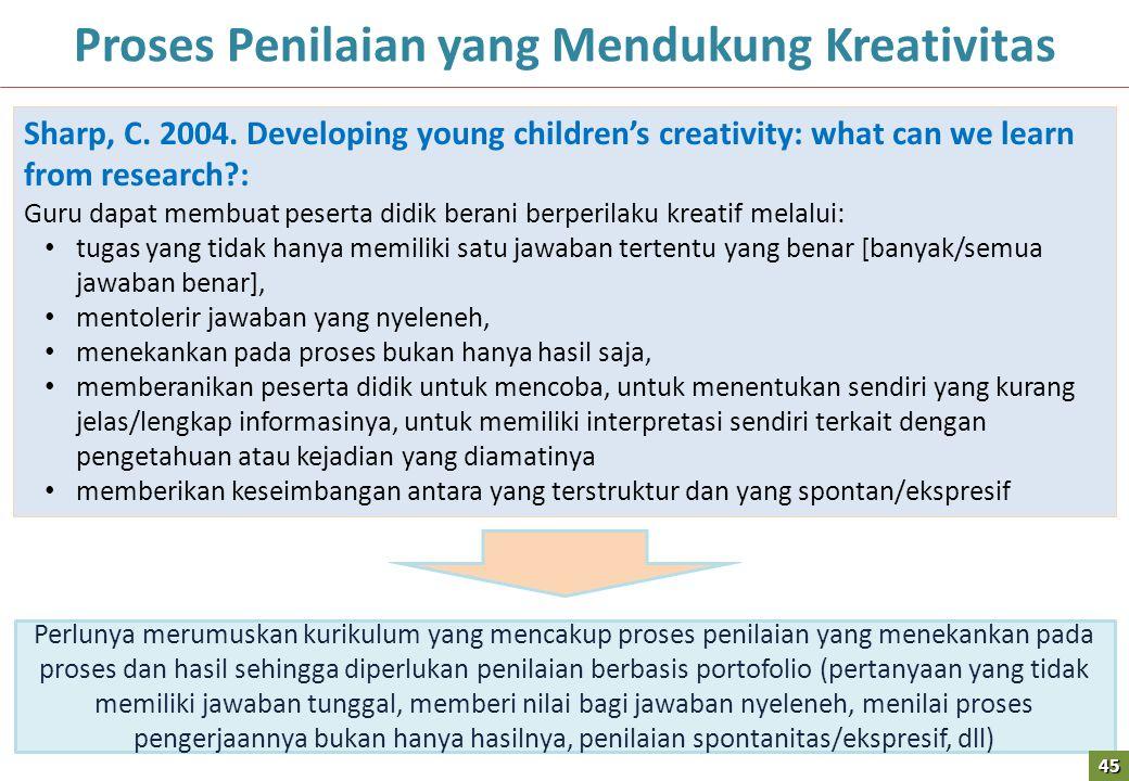 45 Proses Penilaian yang Mendukung Kreativitas Sharp, C.