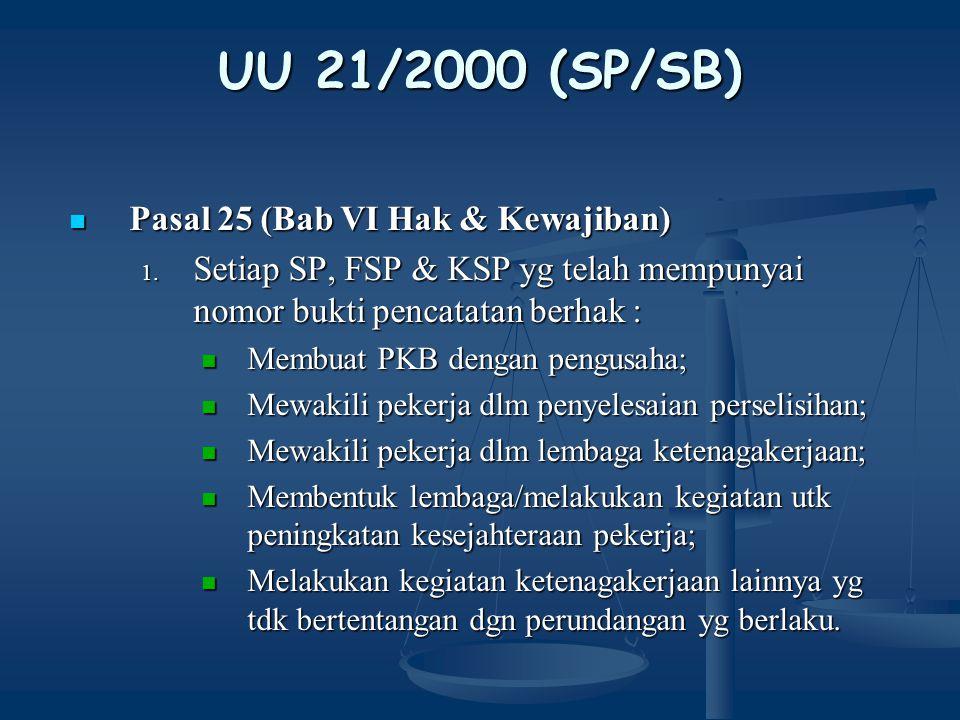 UU 21/2000 (SP/SB) Pasal 27 (Bab VI Hak & Kewajiban) Pasal 27 (Bab VI Hak & Kewajiban) 1.