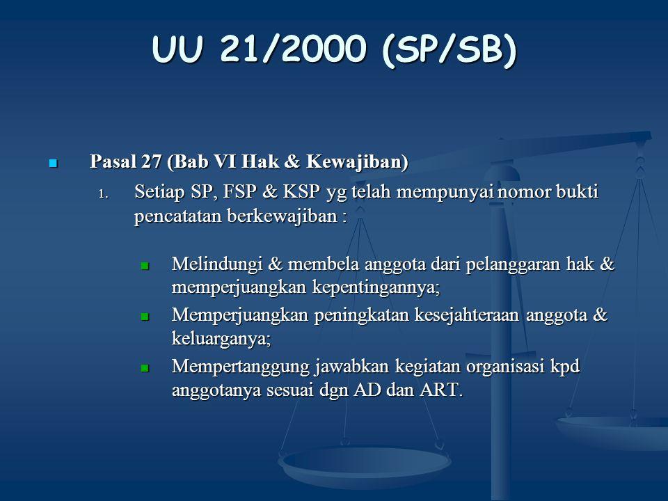 UU 21/2000 (SP/SB) Pasal 28 (Bab VII Perlindungan Hak Berorganisasi) Pasal 28 (Bab VII Perlindungan Hak Berorganisasi) Siapapun dilarang menghalang-halangi/memaksa pekerja utk membentuk/ tidak membentuk, menjadi pengurus/tdk menjadi pengurus, menjadi anggota/tdk menjadi anggota dan/atau menjalankan/tdk menjalankan kegiatan SP dengan cara : melakukan PHK, memberhentikan sementara, menurunkan jabatan atau melakukan mutasi; melakukan PHK, memberhentikan sementara, menurunkan jabatan atau melakukan mutasi; Tidak membayar atau mengurangi upah pekerja; Tidak membayar atau mengurangi upah pekerja; Melakukan intimidasi dalam bentuk apapun; Melakukan intimidasi dalam bentuk apapun; Melakukan kampanye anti pembentukan SP.