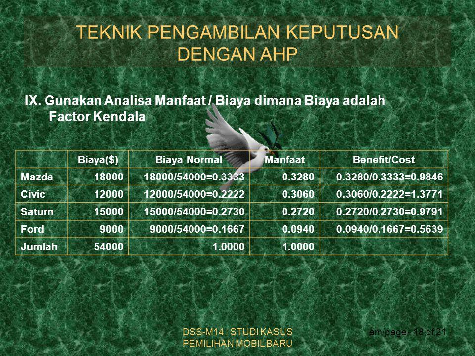 TEKNIK PENGAMBILAN KEPUTUSAN DENGAN AHP DSS-M14 : STUDI KASUS PEMILIHAN MOBIL BARU am/page - 18 of 21 IX. Gunakan Analisa Manfaat / Biaya dimana Biaya
