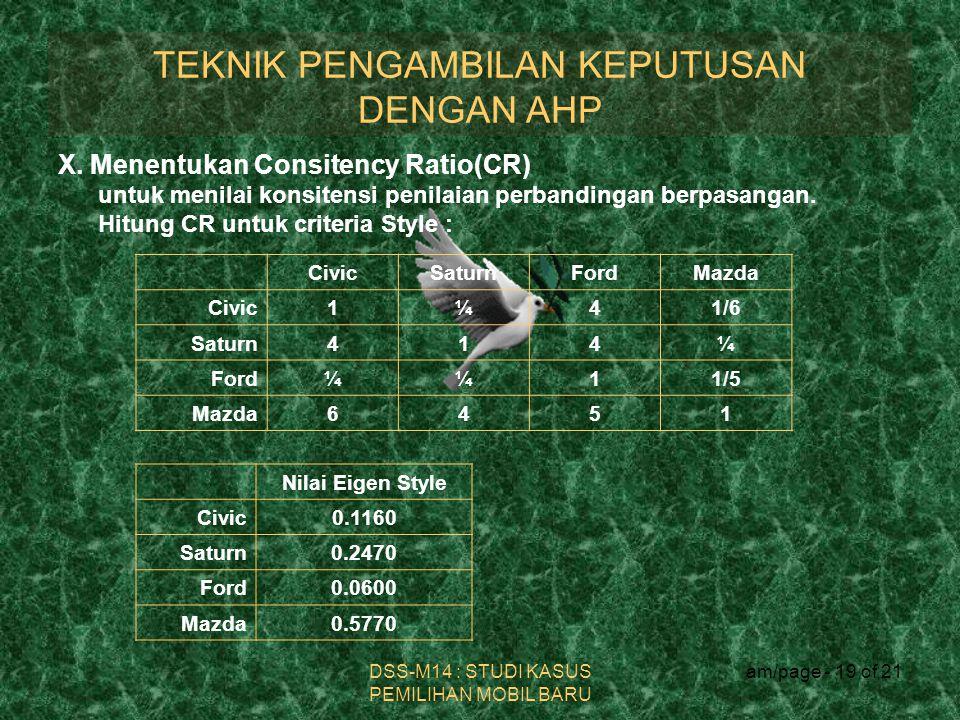 TEKNIK PENGAMBILAN KEPUTUSAN DENGAN AHP DSS-M14 : STUDI KASUS PEMILIHAN MOBIL BARU am/page - 19 of 21 X. Menentukan Consitency Ratio(CR) untuk menilai