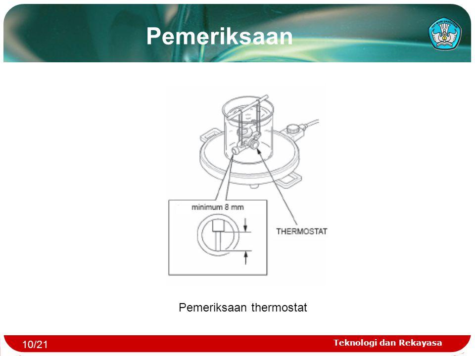 Teknologi dan Rekayasa Pemeriksaan thermostat Pemeriksaan 10/21