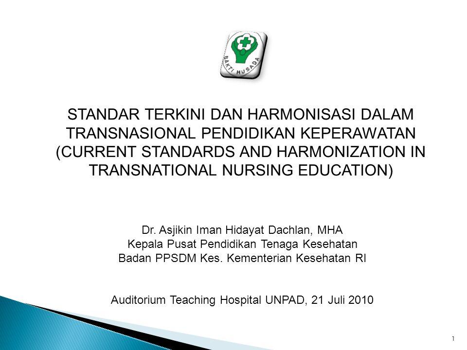 STANDAR TERKINI DAN HARMONISASI DALAM TRANSNASIONAL PENDIDIKAN KEPERAWATAN (CURRENT STANDARDS AND HARMONIZATION IN TRANSNATIONAL NURSING EDUCATION) Dr