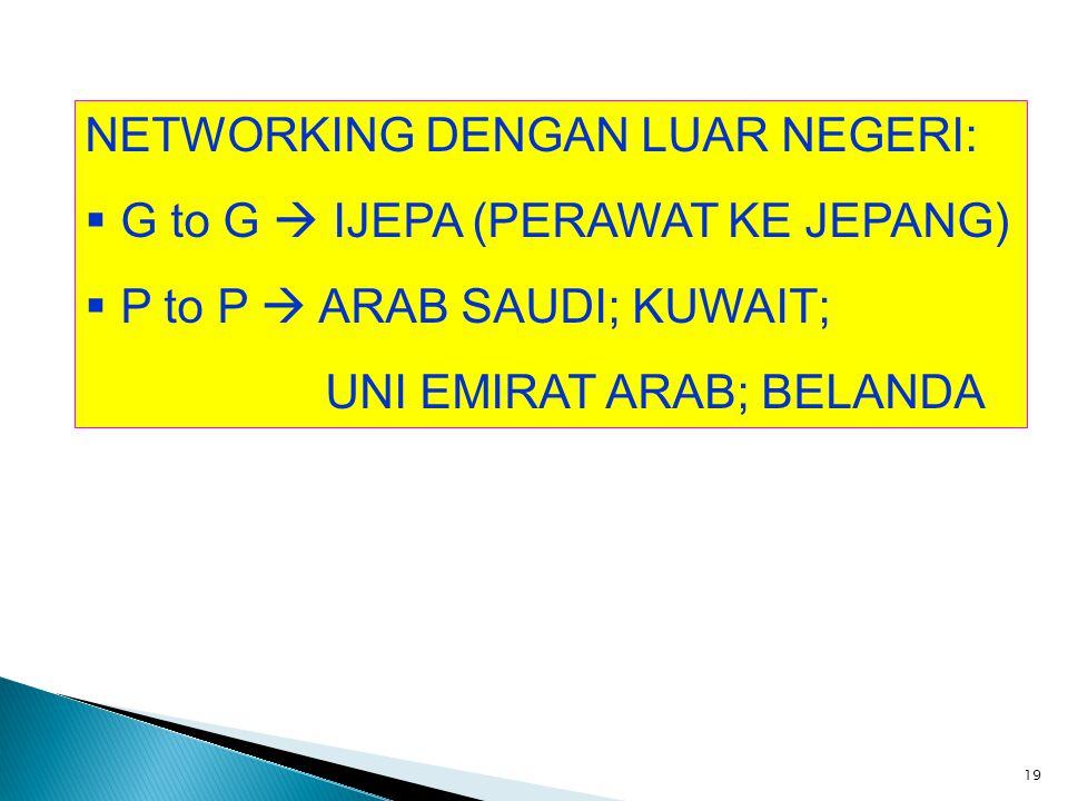 NETWORKING DENGAN LUAR NEGERI:  G to G  IJEPA (PERAWAT KE JEPANG)  P to P  ARAB SAUDI; KUWAIT; UNI EMIRAT ARAB; BELANDA 19