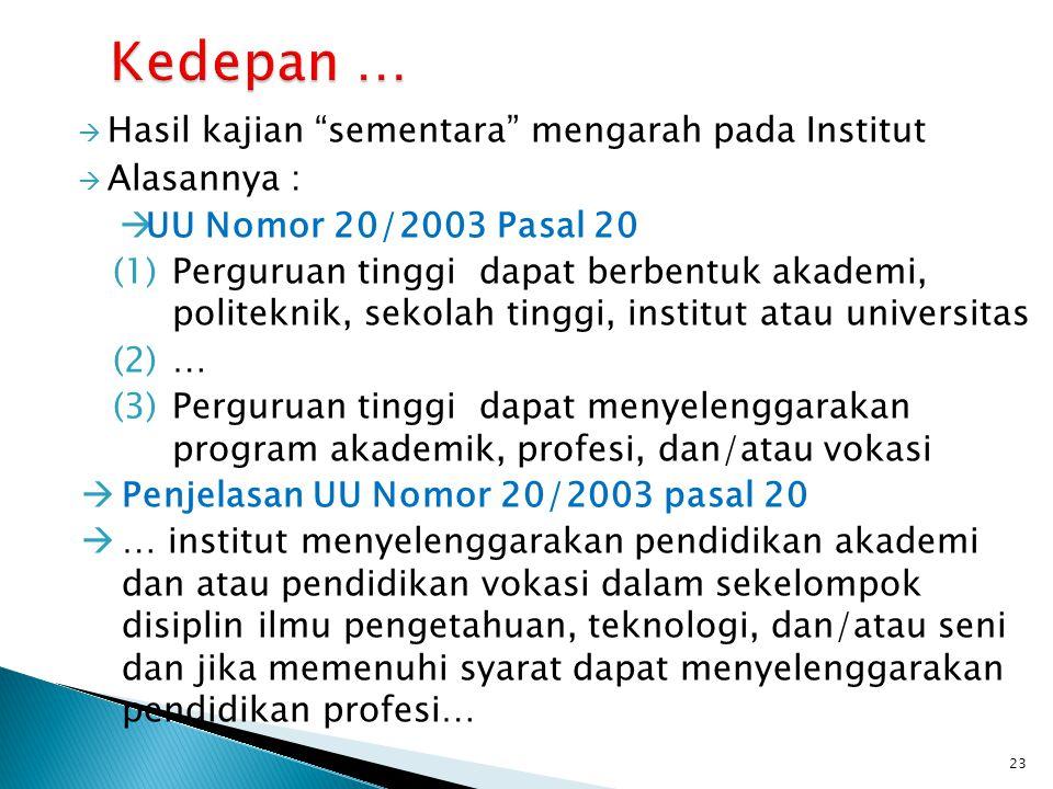 " Hasil kajian ""sementara"" mengarah pada Institut  Alasannya :  UU Nomor 20/2003 Pasal 20 (1)Perguruan tinggi dapat berbentuk akademi, politeknik, s"