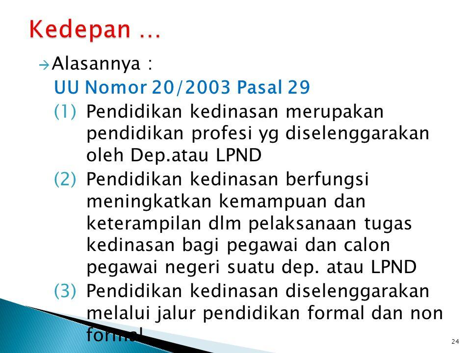  Alasannya : UU Nomor 20/2003 Pasal 29 (1)Pendidikan kedinasan merupakan pendidikan profesi yg diselenggarakan oleh Dep.atau LPND (2)Pendidikan kedin