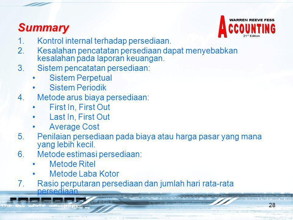 28 Summary 1.Kontrol internal terhadap persediaan.