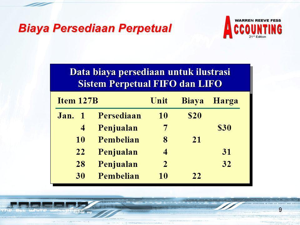 9 Data biaya persediaan untuk ilustrasi Sistem Perpetual FIFO dan LIFO Data biaya persediaan untuk ilustrasi Sistem Perpetual FIFO dan LIFO Cost of Mdse.