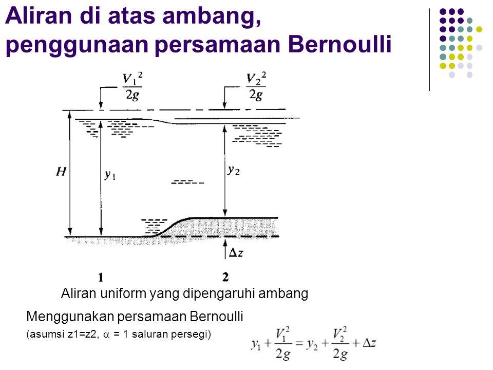 Aliran di atas ambang, penggunaan persamaan Bernoulli Aliran uniform yang dipengaruhi ambang Menggunakan persamaan Bernoulli (asumsi z1=z2,  = 1 salu