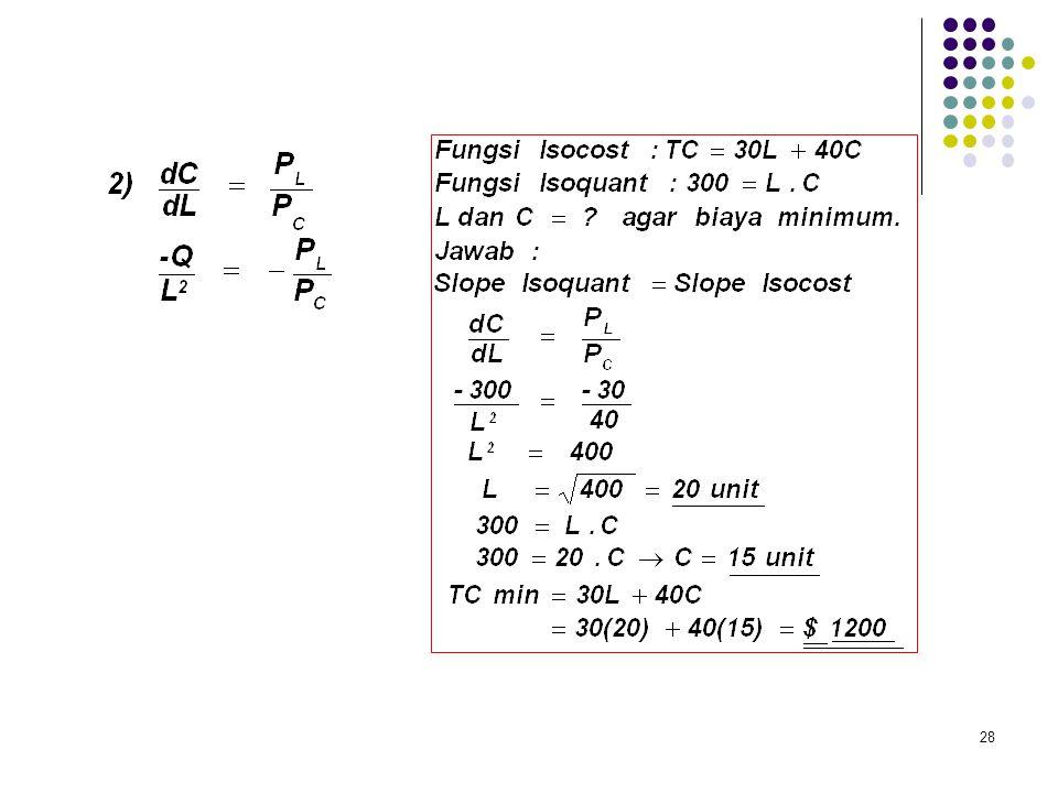 Misalnya : Q = L. C TC = P L.L + P C.C, maka LCC terjadi jika : 27