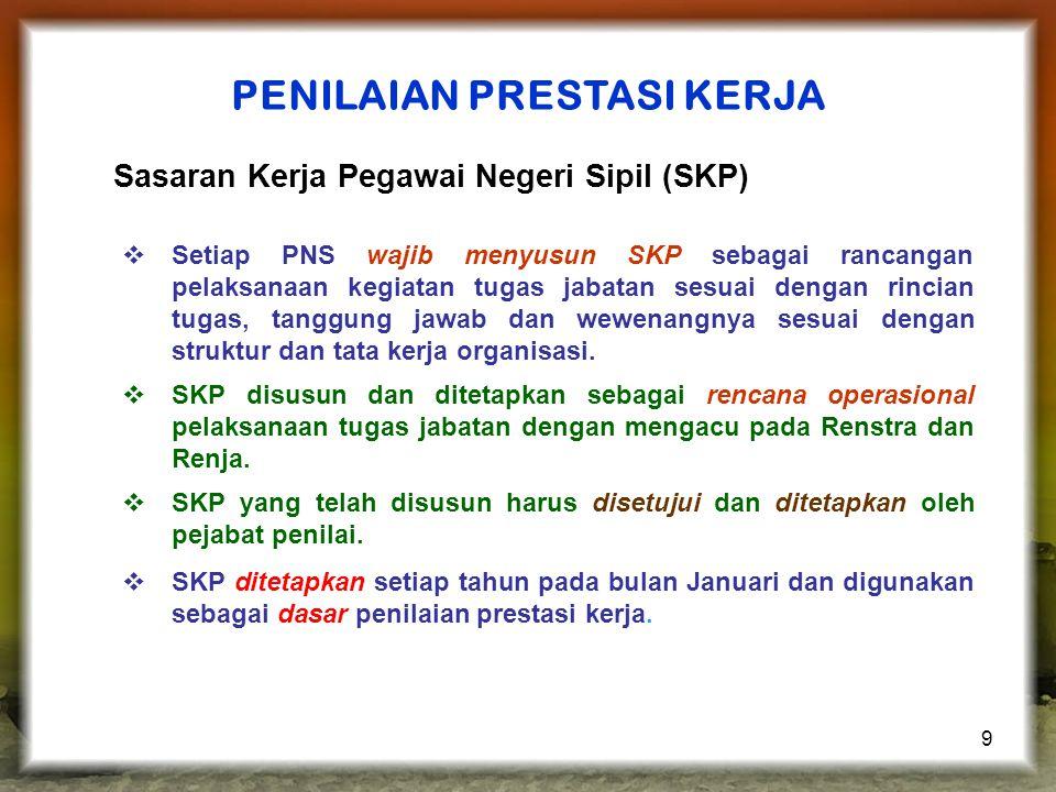 9  Setiap PNS wajib menyusun SKP sebagai rancangan pelaksanaan kegiatan tugas jabatan sesuai dengan rincian tugas, tanggung jawab dan wewenangnya ses